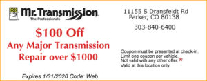 $100 OFF TRANSMISSION REPAIR COUPON